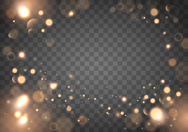 izolated bright bokeh effect on a transparent background. blurred light frame - gold stock illustrations