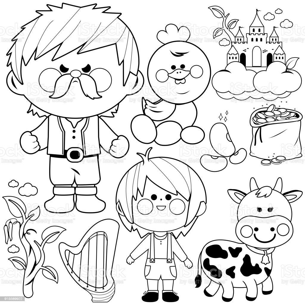 Ilustración de Jack Y El Beanstalk Mágica Del Cuento De Hadas Vector ...