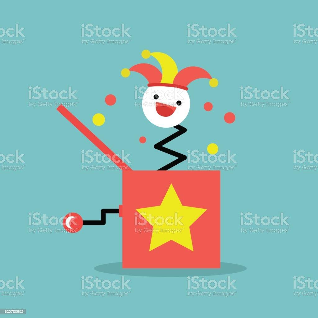Jack dans le jouet boîte / plate illustration vectoriels éditables, de cliparts - Illustration vectorielle
