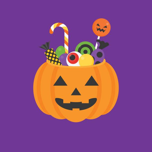 jack o lantern bowl of halloween for trick or treat icon and candy, lollipop in flat design - halloween candy stock illustrations