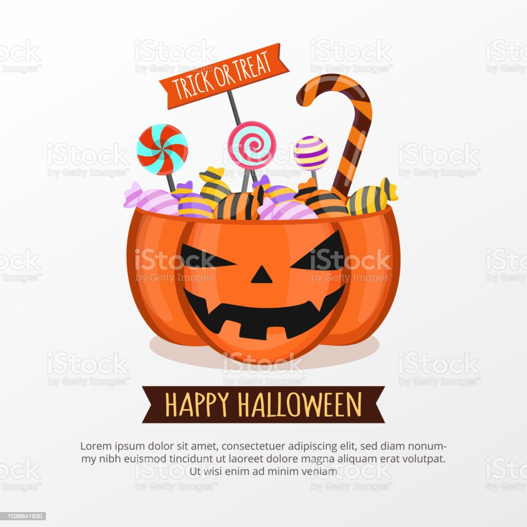 Jack O Lantern Candy Bucket On White Background Happy