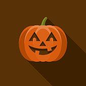 istock Jack O' Lantern Flat Design Halloween Icon with Side Shadow 953695510
