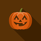 Jack O' Lantern Flat Design Halloween Icon with Side Shadow