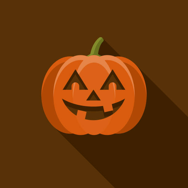Jack O' Lantern Flat Design Halloween Icon with Side Shadow A colored flat design Halloween icon with a long side shadow. Color swatches are global so it's easy to edit and change the colors. pumpkin stock illustrations