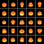 Jack O Lantern. Halloween pumpkins icons.