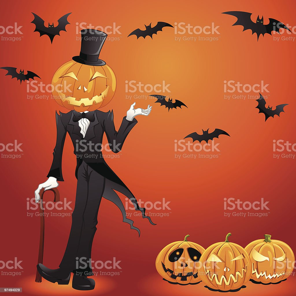 Jack O Lantern in a tux royalty-free jack o lantern in a tux stock vector art & more images of black color