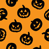 Vector illustration of black jack o lanterns in a repeating pattern against an orange background.