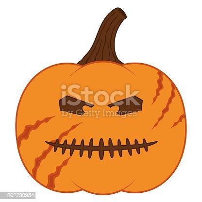 istock Jack o lantern scary face sticker. 1262230954