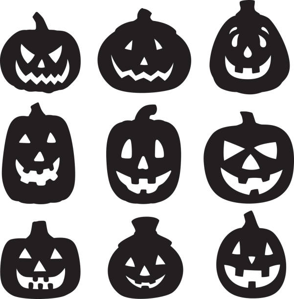 Jack O Lantern Silhouettes 1 Vector silhouettes of a group of jack o lanterns. pumpkin stock illustrations