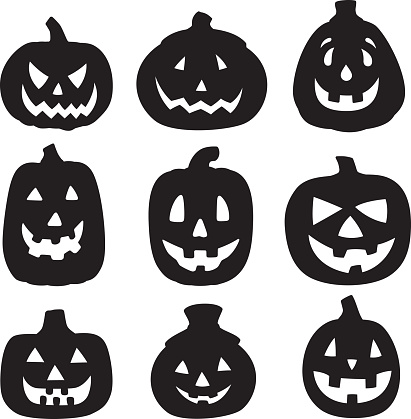halloween silhouettes stock illustrations