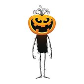 Vector illustration of a jack o lantern halloween pumpkin with a whole body and standing
