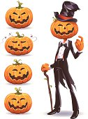 A smiling pumpkin-man with a tailcoat, a top hat and a cane making an inviting gesture. And four Jack 'o Lantern icons isolated on white. EPS 8, fully editable grouped and labeled in layers.