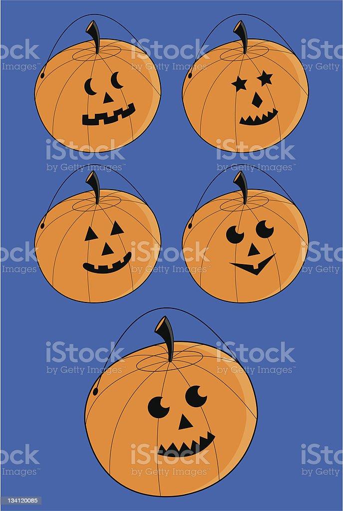 Jack 'O' Lantern/Pumpkin Icon Set royalty-free stock vector art
