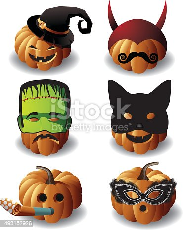 istock Jack O Lantern Cartoon - 9 Mean Expressions Set 585510738 ...