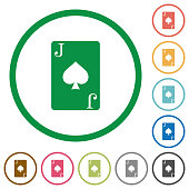 Jack of spades card flat icons with outlines