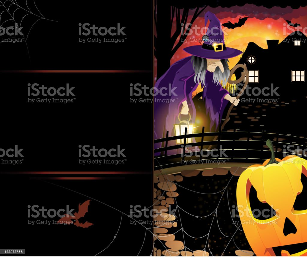 Jack O'Lantern and old witch royalty-free stock vector art