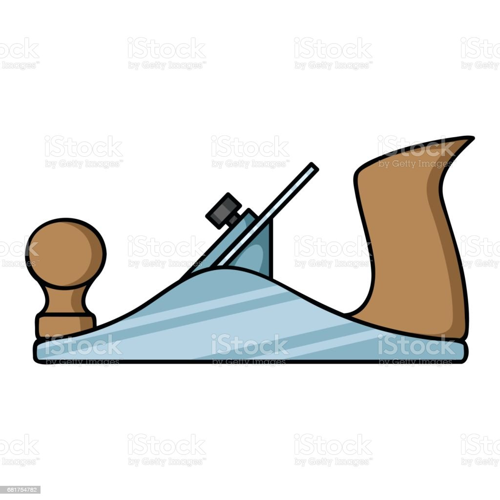 Jack plane icon in cartoon style isolated on white background. Sawmill and timber symbol stock vector illustration. vector art illustration