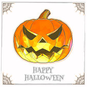 Jack o lantren with low poly in soft water color style on white space background for halloween greeting