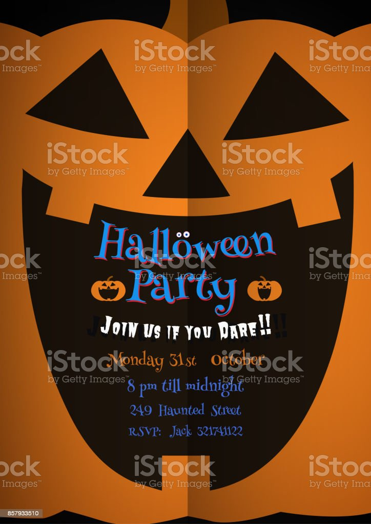 Jack pumpkin smile in darkness with space for text vector art illustration