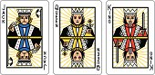 A set of three playing cards showing a Jack, Queen and King. All three are looking forward and could be used to represent any playing card suit.