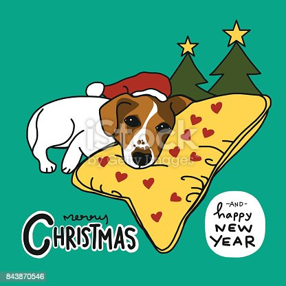istock Jack Russell dog sleep Merry Christmas and Happy New Year 843870546