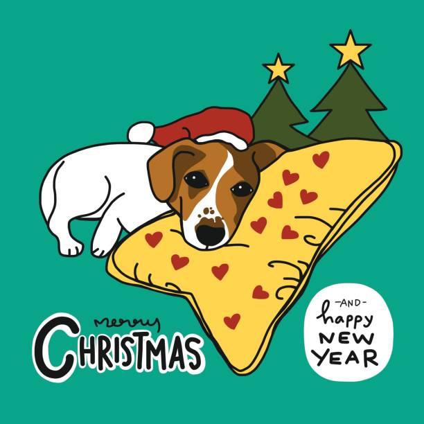 stockillustraties, clipart, cartoons en iconen met jack russell hond slaap vrolijk kerstfeest en gelukkig nieuwjaar - 2010 2019