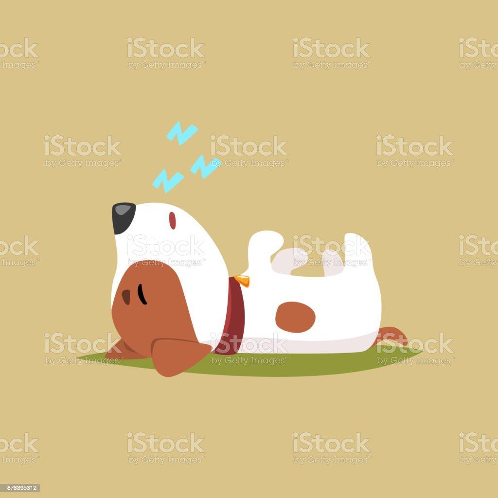 Jack Russell Welpen Charakter schlafen auf den Rücken, nette lustige Terrier-Vektor-illustration – Vektorgrafik