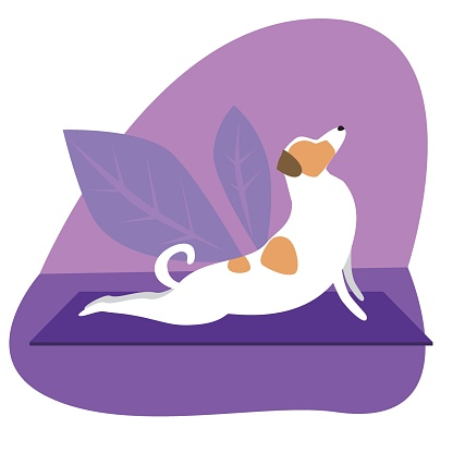 Jack russell terrier or cute character doing yoga on plants background, flat vector stock illustration with dog doing yoga asanas Cobra Pose