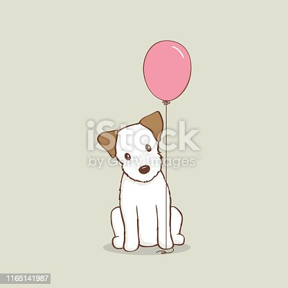 istock Jack Russell Terrier Puppy with pink balloon vector illustration 1165141987