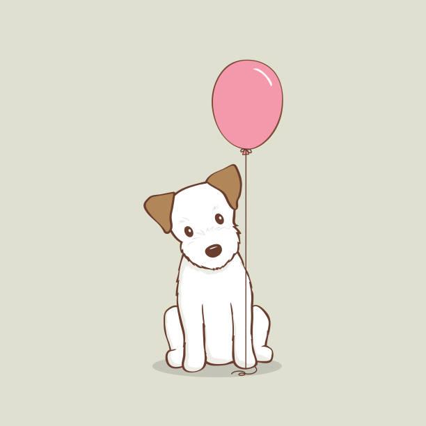 bildbanksillustrationer, clip art samt tecknat material och ikoner med jack russell terrier valp med rosa ballong vektor illustration - valp