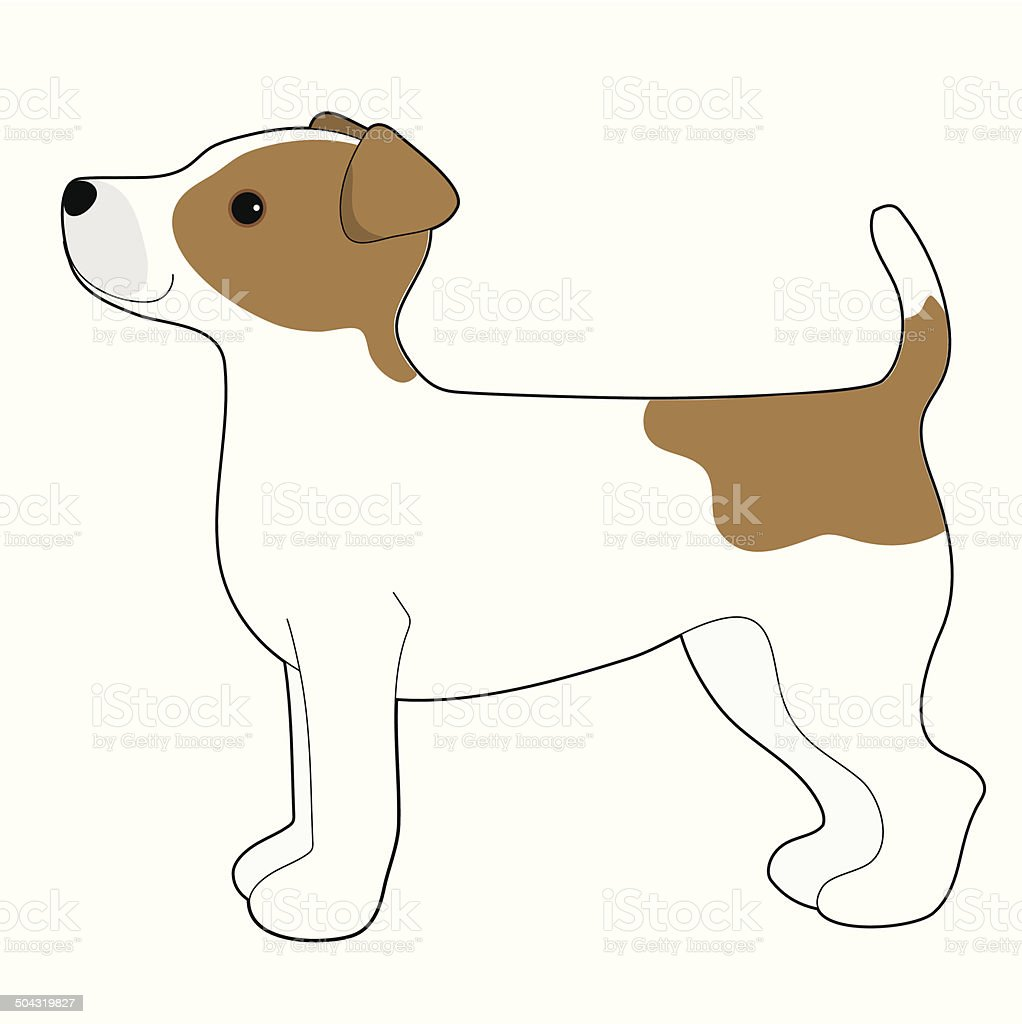Jack Russell Terrier A cartoon illustration of a Jack Russell Terrier Animal stock vector