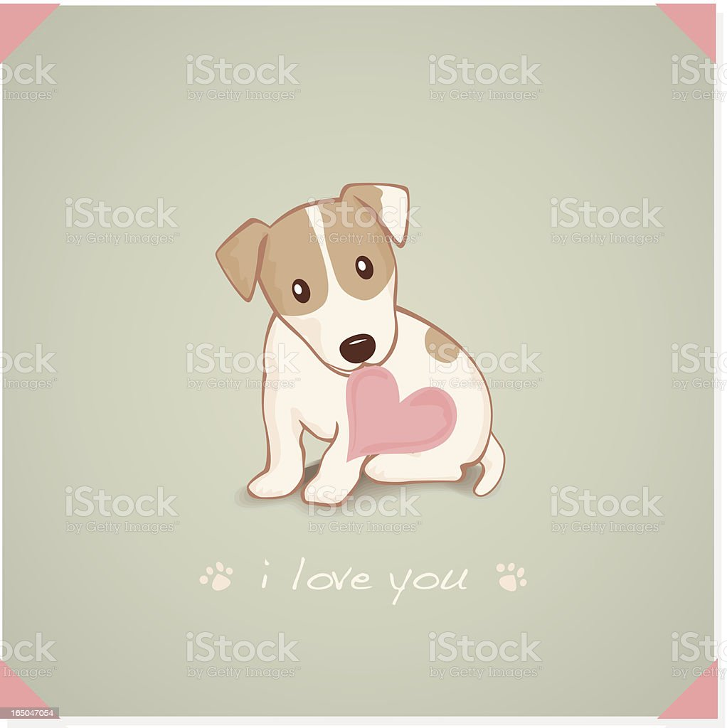 Jack Russell Terrier with heart Shape message in mouth vector art illustration