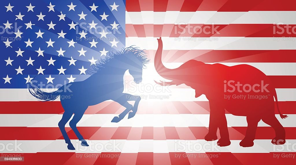 Jackass Donkey Fighting Elephant Election Concept vector art illustration