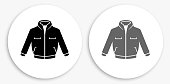 Jacket Black and White Round Icon. This 100% royalty free vector illustration is featuring a round button with a drop shadow and the main icon is depicted in black and in grey for a roll-over effect.