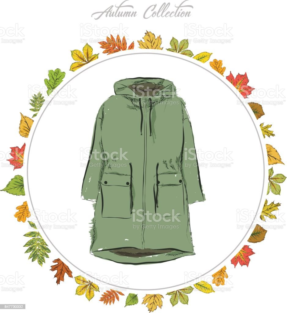 Jacket, Hand draw clothes. Autumn collection. Frame of autumn leaves. Vector illustration. vector art illustration