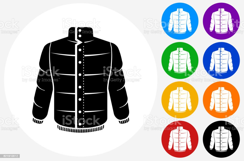 Jacket Icon on Flat Color Circle Buttons vector art illustration