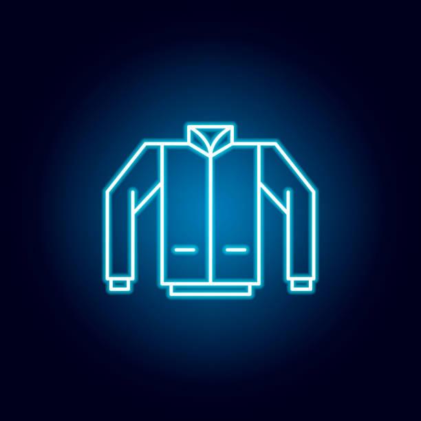 jacke, mantel, einheitliche umriss-ikone im neon-stil. elemente der bildungsillustration linie symbol. zeichen, symbole können für web, symbol, mobile app, ui, ux verwendet werden - neonhosen stock-grafiken, -clipart, -cartoons und -symbole