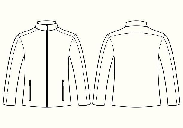 illustrazioni stock, clip art, cartoni animati e icone di tendenza di giacca modello-vista anteriore e posteriore - mockup outdoor rain