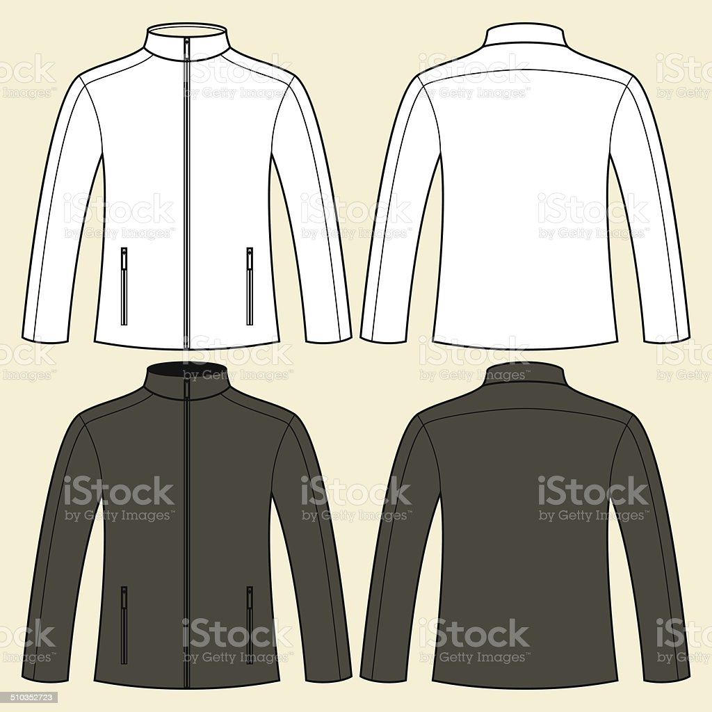 Jacket template - front and back vector art illustration