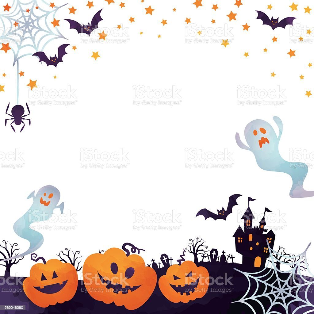 jack-o-lanterns and ghosts ベクターアートイラスト