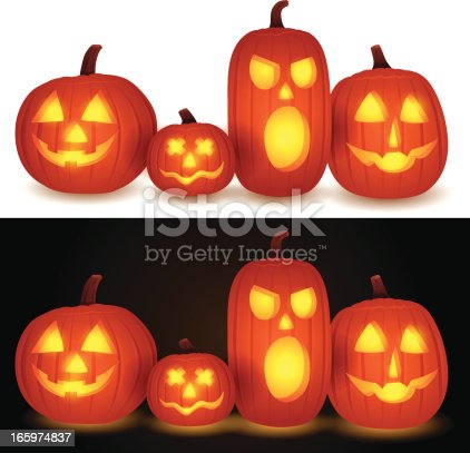 Group of jack-o-lanterns. Each pumpkin separately grouped for easy manipulation and use.