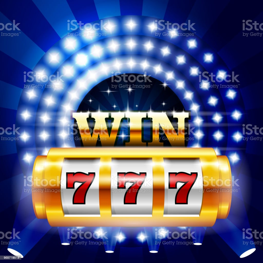 Jackpot - 777 on casino slot machine, big win and gambling concept vector art illustration