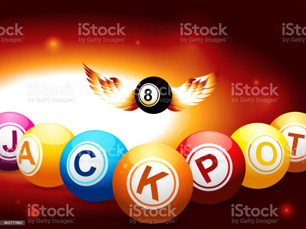 Jackpot and number 8 balls with wings on glowing background vector art illustration
