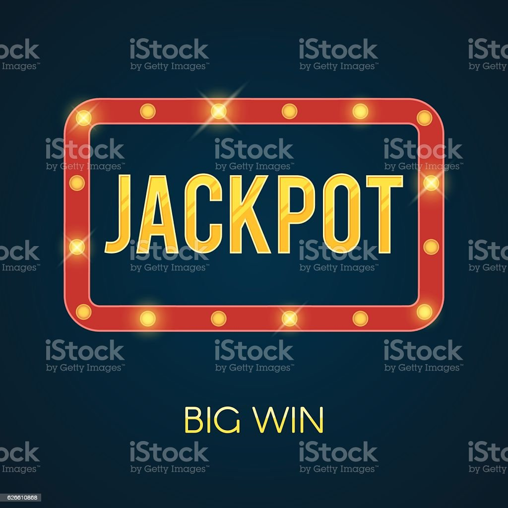 Jackpot banner with glowing lamps vector art illustration