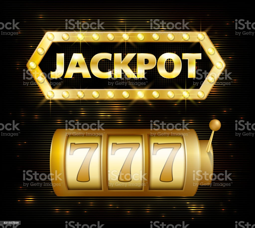 Jackpot casino lotto label background sign. Casino jackpot 777 gamble winner with text shining symbol isolated on white. Vector illustration vector art illustration