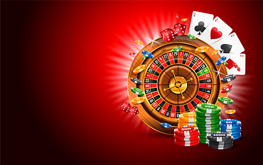 Jackpot Casino Vector Illustration with Roulette Wheel, Gambling Chips and Coins