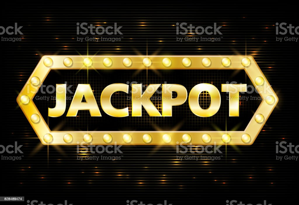 Jackpot gold casino lotto label with glowing lamps on black background. Casino jackpot winner design gamble with shining text in vintage style. Vector illustration vector art illustration