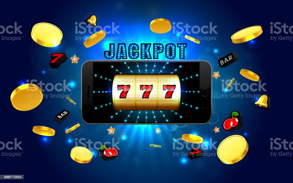 jackpot lucky wins golden slot machine casino on mobile phone with light background vector art illustration
