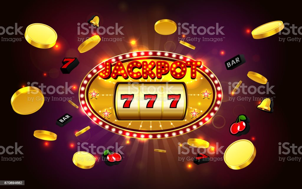 jackpot lucky wins golden slot machine casino with light background vector art illustration