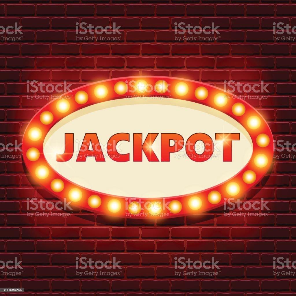 Jackpot retro banner template with lightbulb glowing - ilustração de arte vetorial